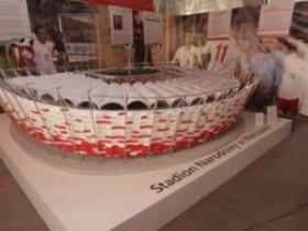 Демонстрация маленьких копий стадионов Евро-2012