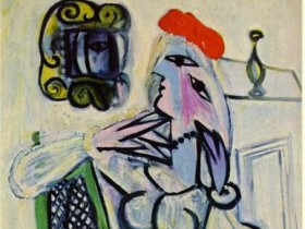 Пикассо,Находящаяся девушка в  алой шапке