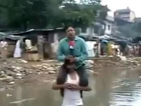 телерепортаж о наводнении