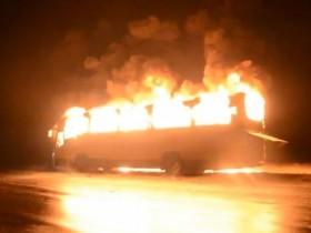 горит автобус
