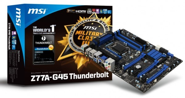 Исходная  оплата Z77A-G45 с слотом Thunderbolt от MSI