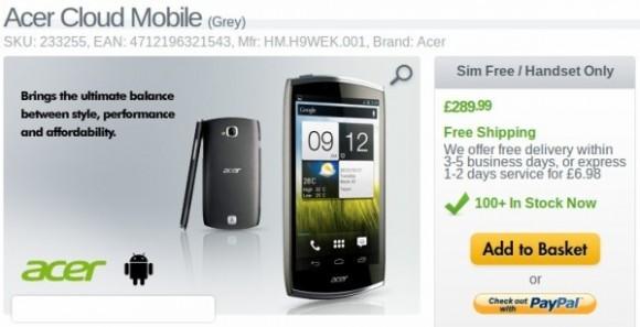 Представлена стоимость телефона Acer CloudMobile