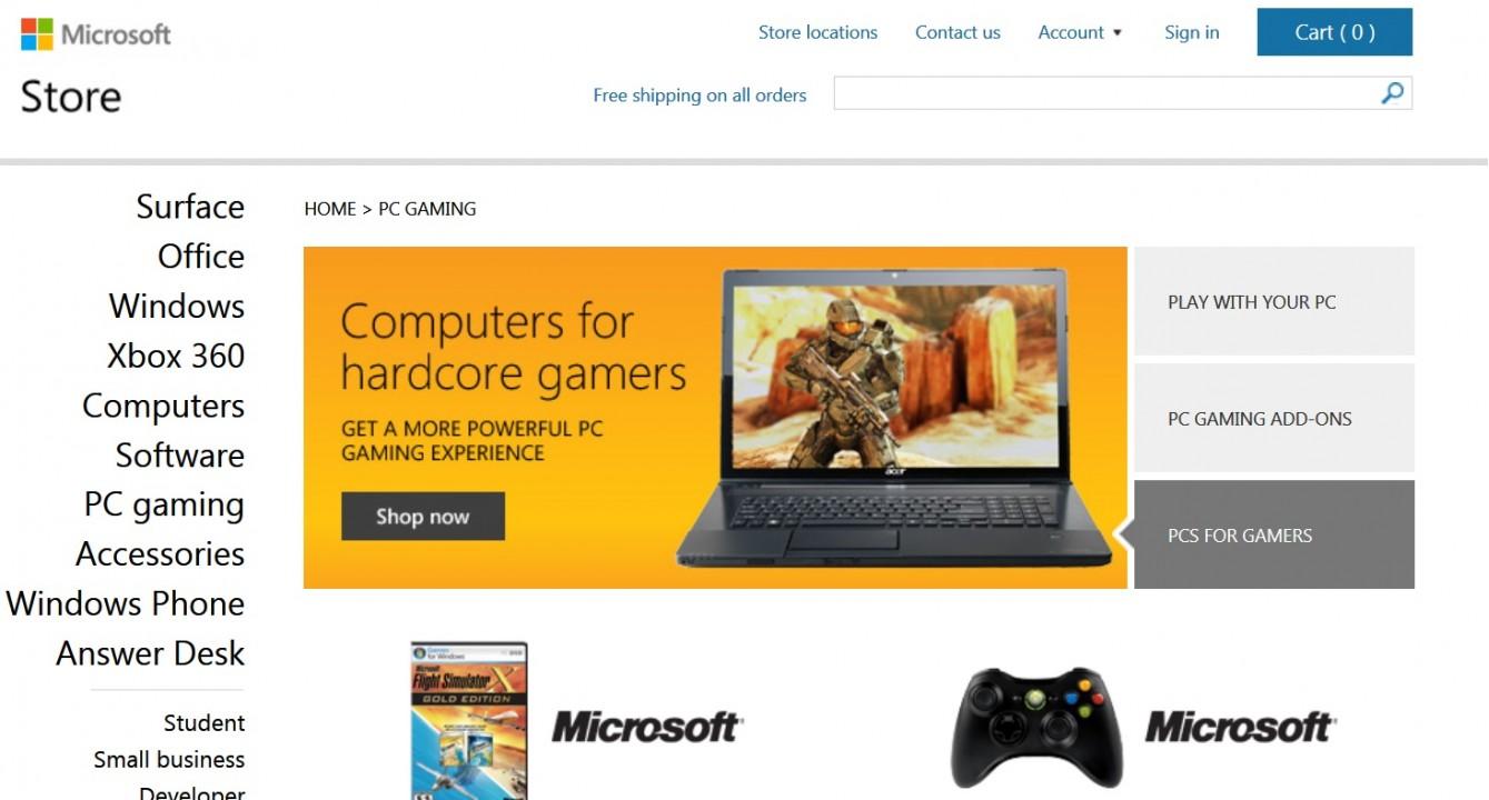 Специалист Чиф анонсирует PC-раздел Майкрософт Store