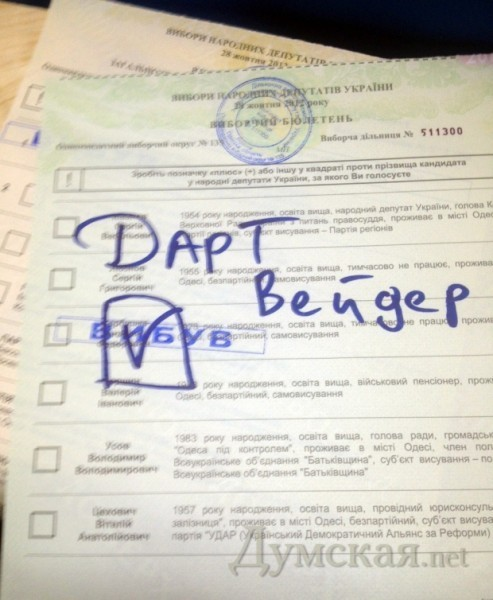 В Одессе лидер голосования - Дарт Вейдер