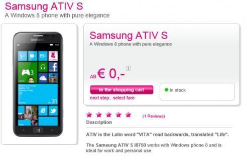Samsung ATIV S первый на Windows Phone 8 поступил в продажу