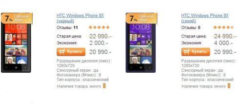 HTC Windows Phone 8X  существенно подешевел