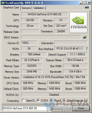 Характеристики ускорителя Nvidiа GeForce GTX 660 SE