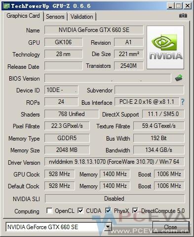 Характеристики ускорителя Nvidiа GeForce GTX 660 SE