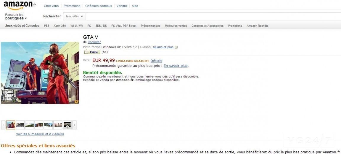 GTA 5 для PC засветилась на amazon