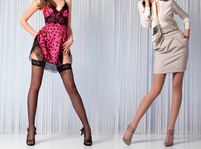 Престижный тренд 2013: колготы и чулки в горошек