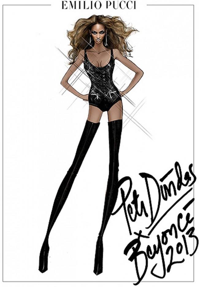 Наброски костюмов Emilio Pucci для всемирного турне Бейонсе