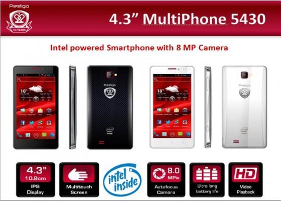 Телефон Prestigio MultiPhone 5430 на основе Intel Atom