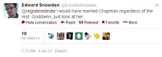 Сноуден готов повенчаться даже на Чапман
