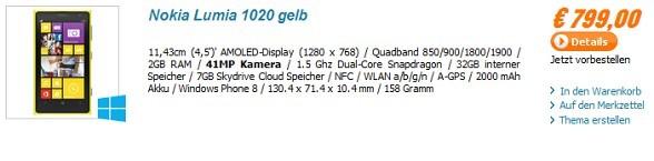 Нокия Люмия 1020 доступен для предзказа в Европе и Соединенные Штаты