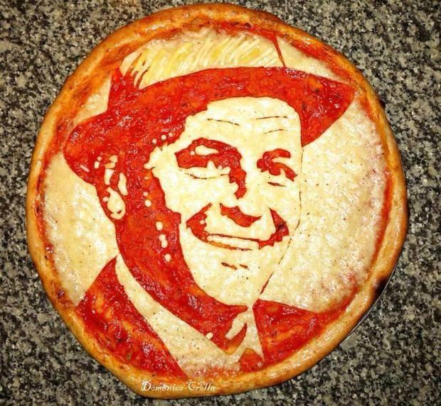 Кулинар из Шотландии делает пиццу с портретами известных людей