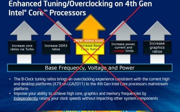 Intel блокирует функцию Non-Z OC для микропроцессоров Haswell