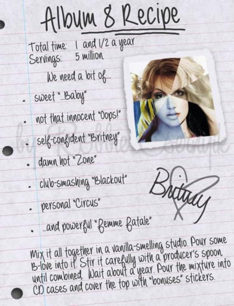 Бритни Спирс опубликовала рецепт приготовления 8 лонгплея