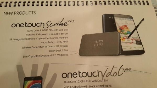 Alcatel One Touch Scribe Pro: первые данные о двухсимнике