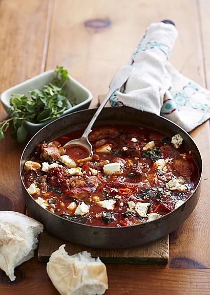 Греческое блюдо - цыпленок саганаки