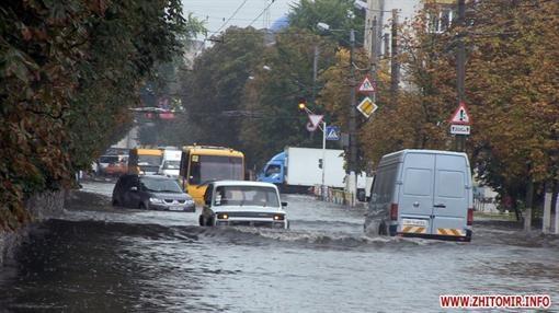 Житомир ушел под воду после раннего дождя
