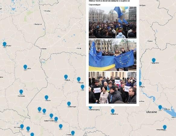 Украинец нанес на интерактивную карту «Евромайданы» мира