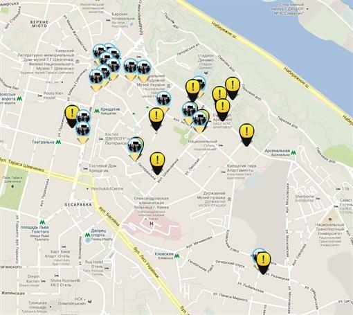 """На карте Киева отметили """"горячие точки"""""""
