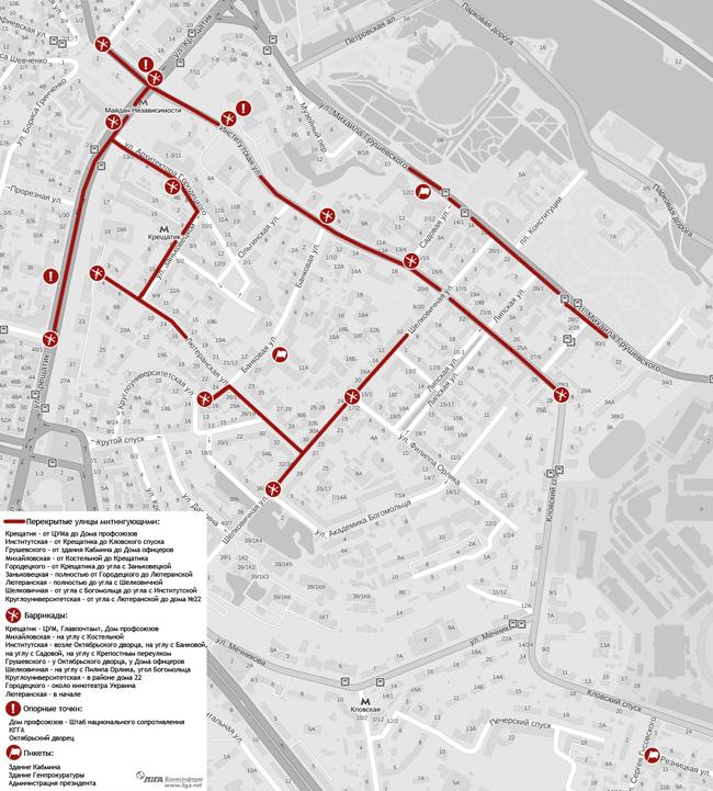 Баррикады, пикеты и основные пункты Евромайдана на карте