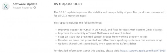 OS X Mavericks 10.9.1 с улучшениями Mail от Эпл
