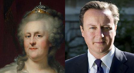 Англичане нашли сходство своего премьера и Екатерины II