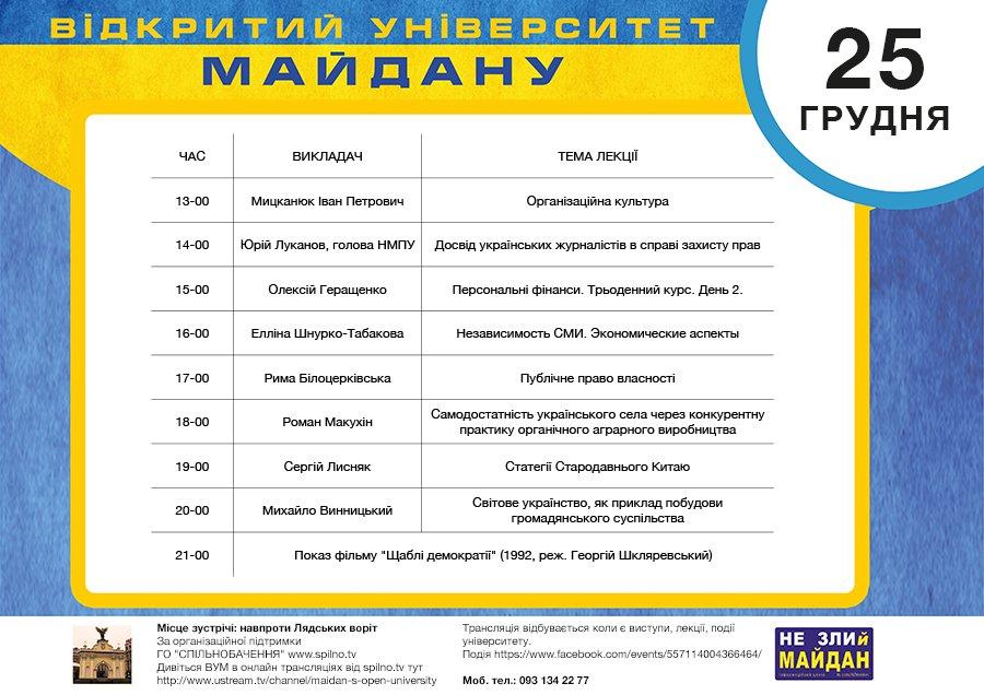 Какие лекции можно слушать вчера на Евромайдане?