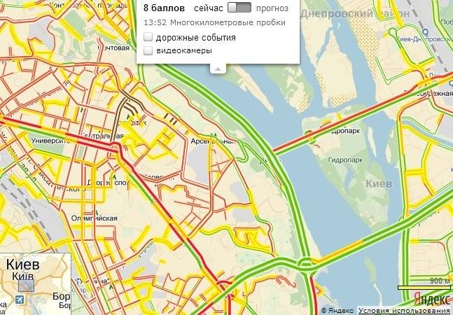 Киев стоит в 8-балльных пробках