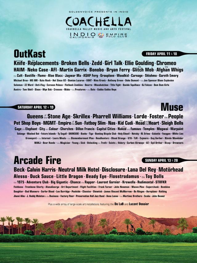 Muse, Arcade Fire и Лана Дель Рей выступят на Coachella