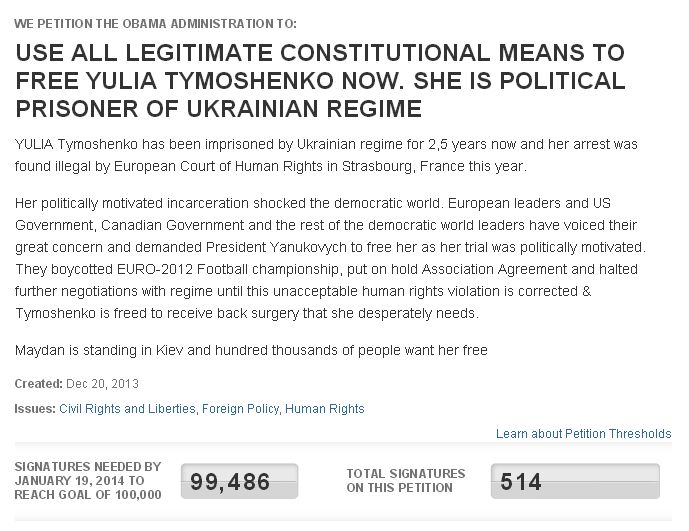 Просьба для избавления Тимошенко накопила 100 млн подписей