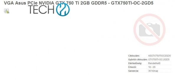 Адаптер ASUS GeForce GTX 750 Ti доступен для заказа