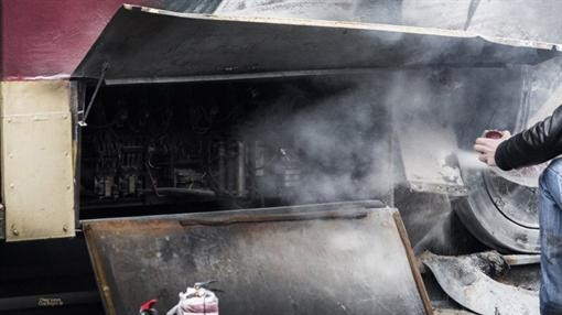 В Киеве пылал трамвай с пассажирами