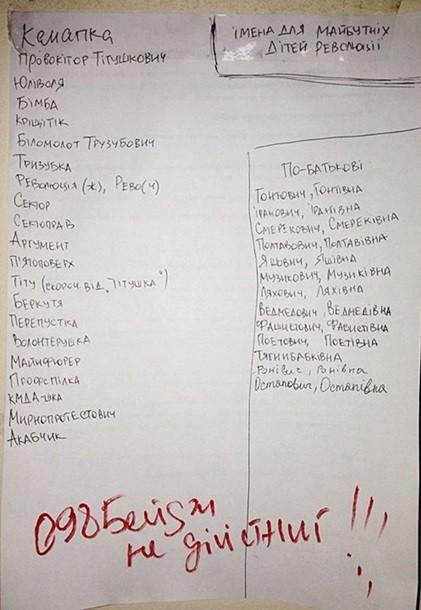Активисты придумали имена для детей революции
