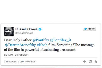 """Рассел Кроу попросил папу Римского посмотреть фильм """"Ной"""""""
