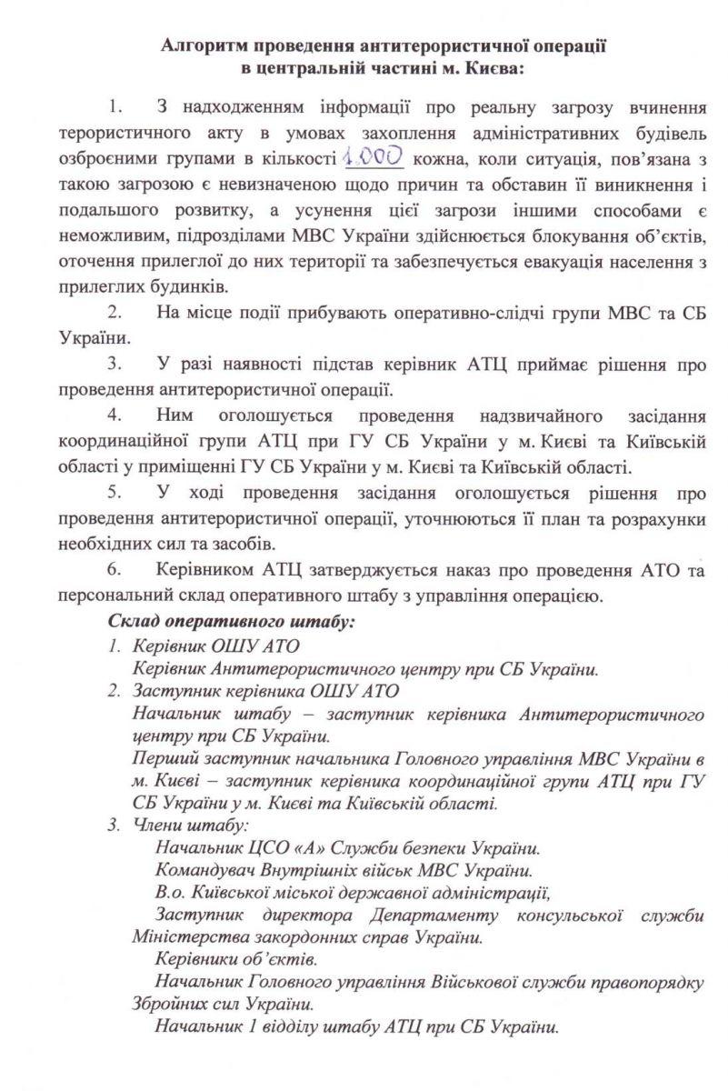 План Антитеррористической операции в центре Киеве (Документ)