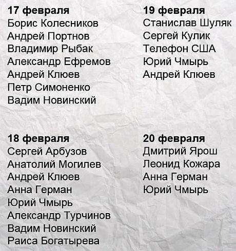 Кто приезжал к Януковичу в дни, когда силовики убивали людей