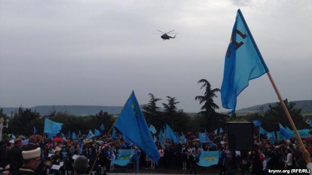Военные вертолеты пытались сорвать митинг крымских татар