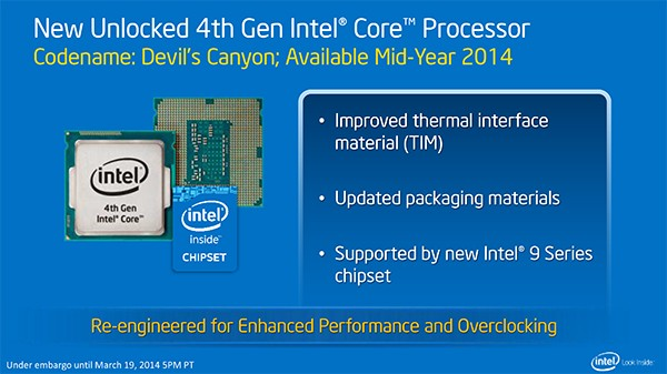 Перечень сопоставимости микропроцессоров Intel Devil'с Canyon
