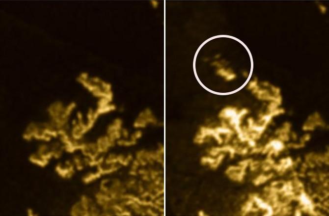 """ФОТО: На Титане замечен """"пропадающий полуостров"""""""