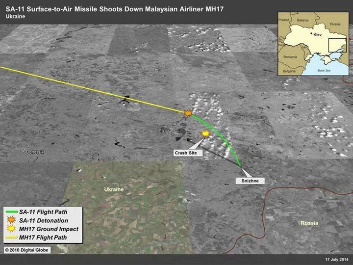 """США продемонстрировали линию движения полета ракеты, свалившей """"Boeing 777"""""""