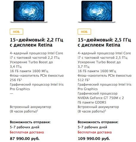Модернизированные MacBook Pro с Retina от Эпл: Расценки