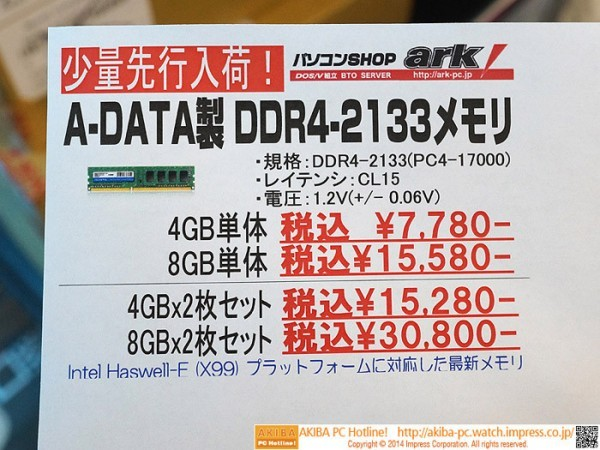 Планки ADATA Premier DDR4 4 Гигабайт - $75 за модуль
