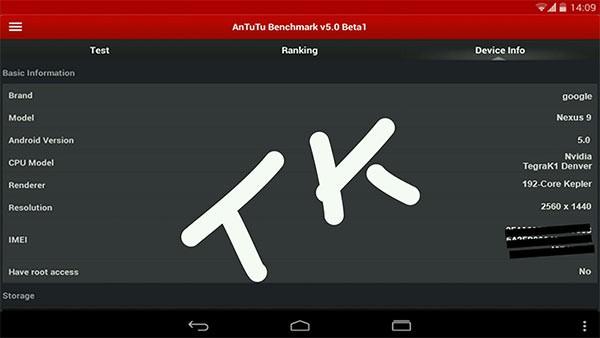 В основе бенчмарка AnTuTu замечен планшетник Google Nexus 9