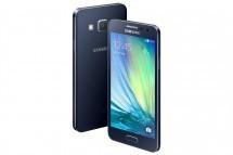 Узкие телефоны «Самсунг» Галакси A5 и Галакси A3 показаны