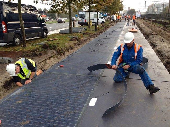 Голландцы интегрировали солнечные батареи в велодороги (ФОТО)