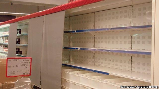 ФОТО: В супермаркетах Крыма пустые полки закрыли занавесками