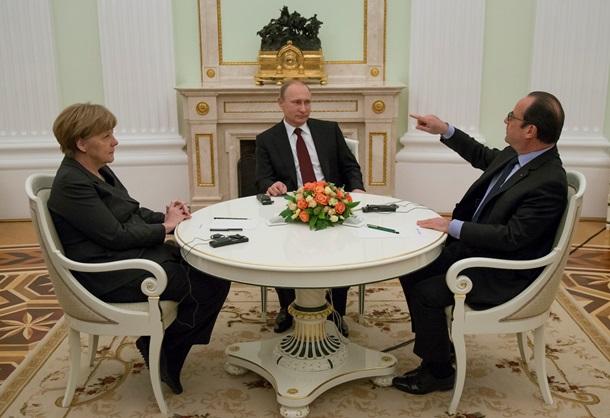 ФОТО: Путин, Меркель и Олланд прервали переговоры ради фото